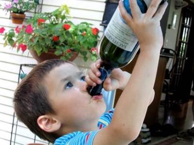 child with wine